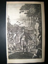 Dryden Works of Virgil 1709 Classical Engraving. Misenus Sounds a Charge